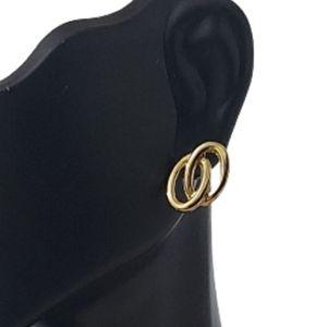 E1709 Minimalist Goldtone Links Stud Earrings